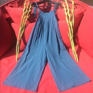 Pants - Overalls Teal Blue Pinafore Bib Pleated Size S